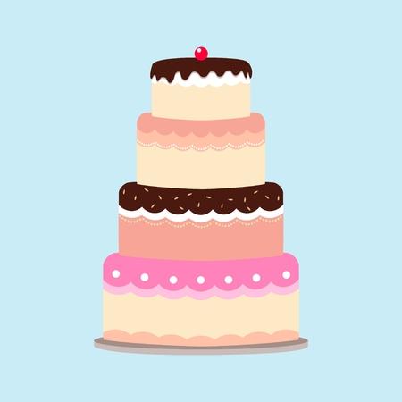 pasteles de cumplea�os: Ilustraci�n de un pastel aislado sobre fondo azul