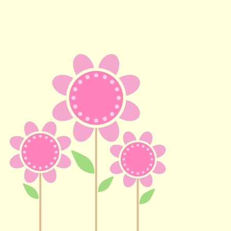minimalist: illustration of flowers Isolated on yellow background Illustration