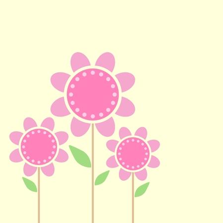 minimal: Ilustraci�n de flores aislado en fondo amarillo