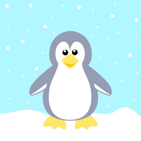Stock of a Penguin on Blue Background Vector