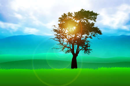 Silhouette illustration of a tree on meadows Stock Illustration - 8861769