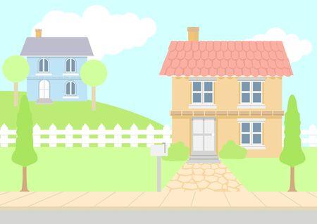kiddies: Ilustraci�n vectorial de casas en color pastel Vectores