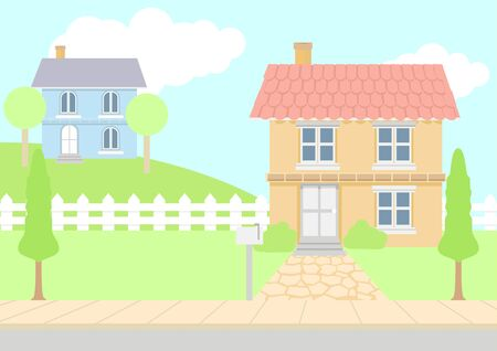 residential neighborhood: Vector illustration of houses in pastel color Illustration