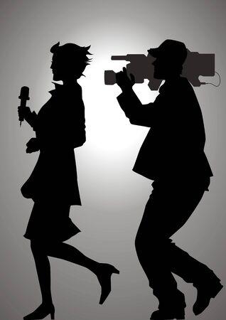 Silhouetillustratie van een verslaggever en een cameraman Vector Illustratie