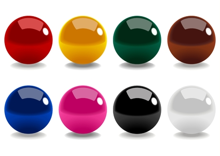 snooker balls: Stock vector of snooker balls isolated on white