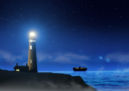 silent night: Stock image of a lighthouse