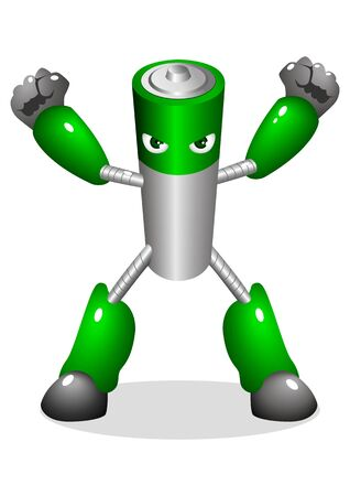 funny robot: Cartoon character of a robotic battery