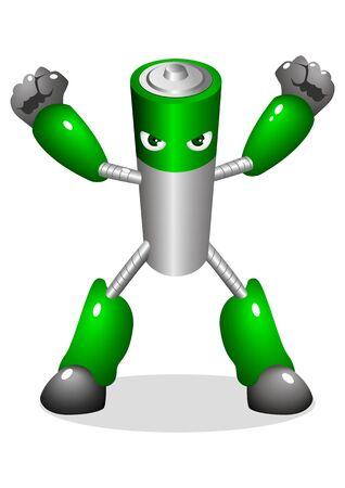 baterii: Cartoon znak zautomatyzowanej akumulatora