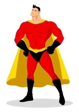kiddies: Balance de dibujos animados superh�roe posando Vectores