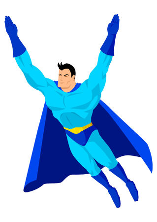 Cartoon superhero in flying pose Vector