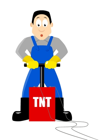 detonator: A cartoon figure being ready to detonate TNT Illustration