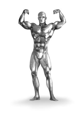 cyborg: Illustration of a chromeman with muscular body Stock Photo