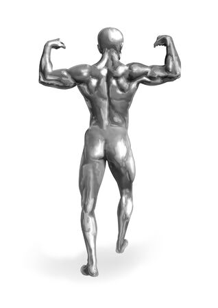 muscly: Chromeman muscular body from behind