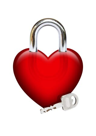 Image of padlock heart with a key photo