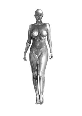 ser humano: Acciones imagen de una mujer de cromo aislada sobre fondo blanco