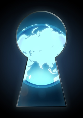 analogy: Illustration of a globe seen through the keyhole Stock Photo