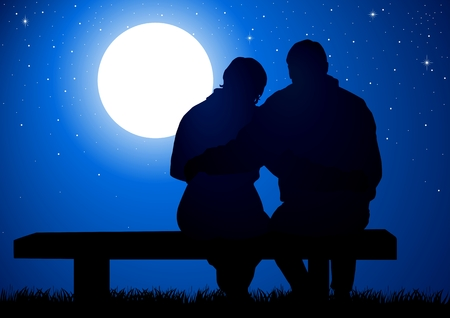 Silhouette illustration of a couple sitting on a bench Vector