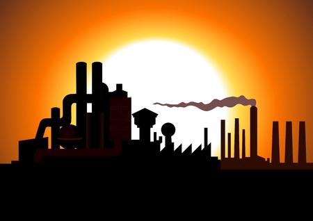 hazardous: Illustrazione di Silhouette di una fabbrica