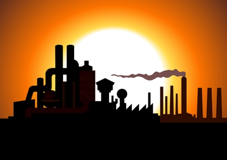hazardous waste: Silhouette illustration of a factory Illustration