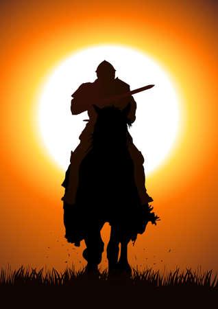 krieger: Silhouette-Illustration der Ritter mit einer Lanze Illustration