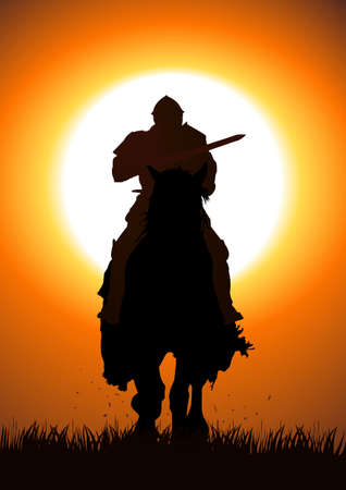 joust: Silhouette illustration of a knight with a lance