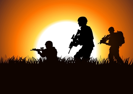 war on terror: Silhouette illustration of soldiers on the field