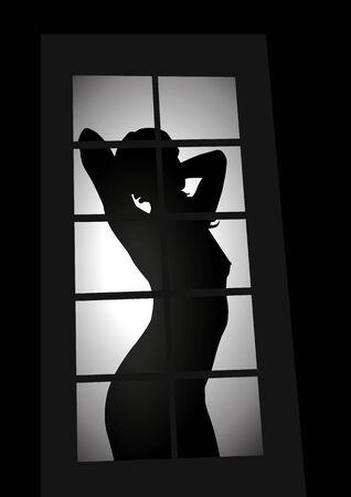 sexy girl nue: Silhouette de femme vu � travers la fen�tre