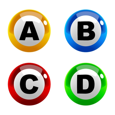 b ball: A set of marbles font type, letter A to D