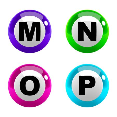 m: A set of marbles font type, letter M to P
