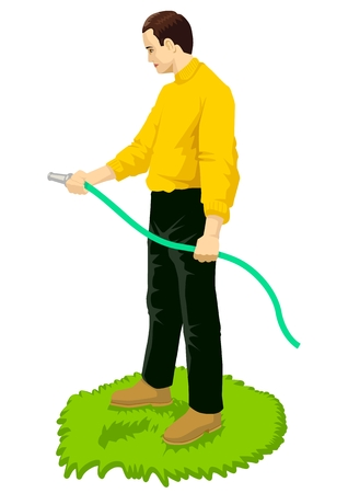 male grooming: Vector illustration of a man gardening using a hose