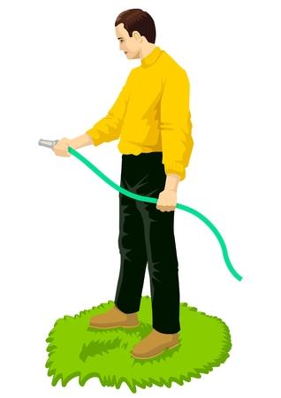 gardening hoses: Vector illustration of a man gardening using a hose