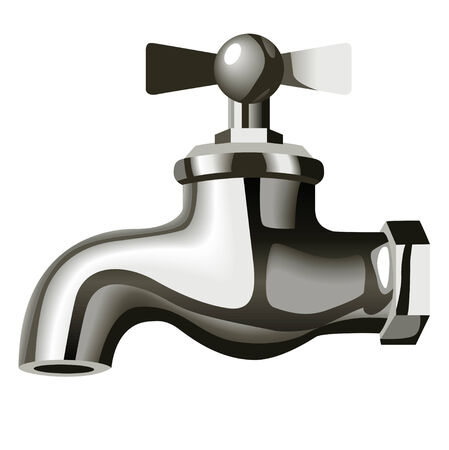 tap with water: Illustration of a chrome water tap isolated on white background