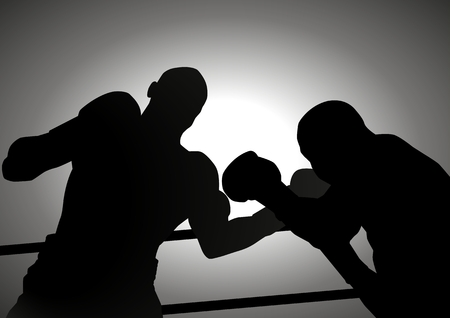 boxing training: Silhouette illustration of two boxers
