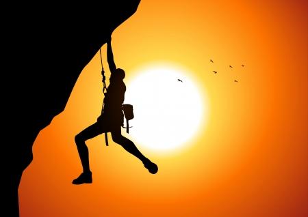 montagna: Illustrazione vettoriale di una figura di uomo appeso sulla scogliera Vettoriali