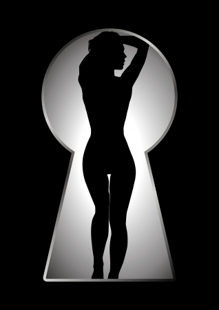 Vector illustration of a female figure seen through the keyhole Stock Vector - 9061610