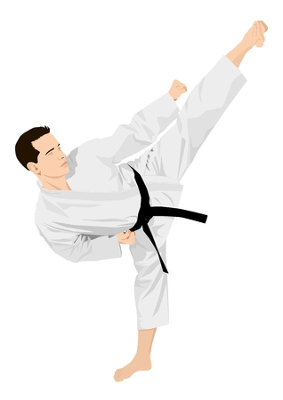 kung fu: Vector illustration of a man doing standing side kick stance Illustration