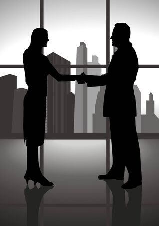 acquisition: Silhouette of a male and female figure shaking hand