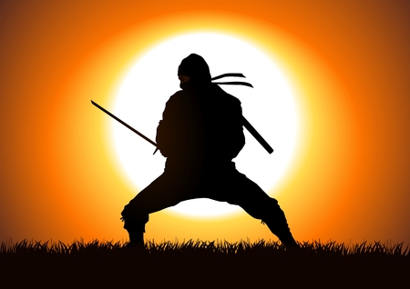 traditional weapon: Silhouette illustration of a Ninja on grass field Illustration