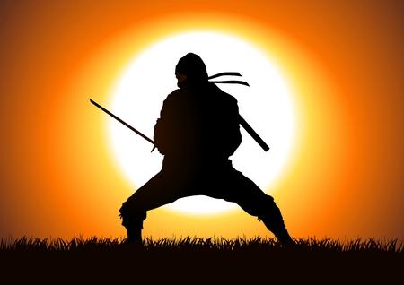 japanese ninja: Silhouette illustration of a Ninja on grass field Illustration