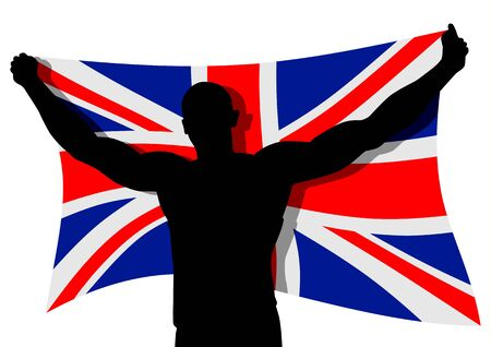 Vector illustration of a man figure carrying the flag of UK Stock Vector - 9061601