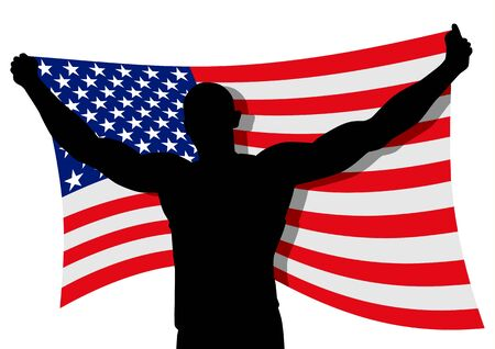 bearer: Vector illustration of a man figure carrying the flag of USA Illustration