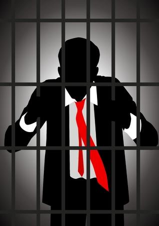 Ilustración vectorial de un empresario en la cárcel