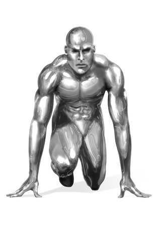 chrome man: Illustration of a chrome man getting ready for a fast sprint