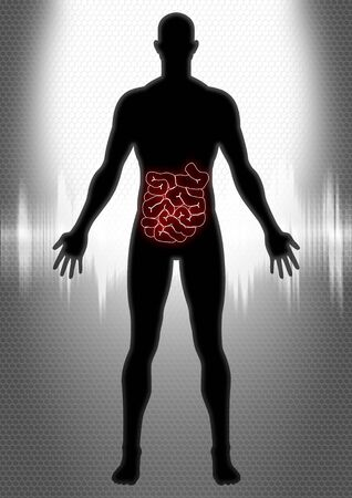 gastric: Silhouette illustration of a man anatomy