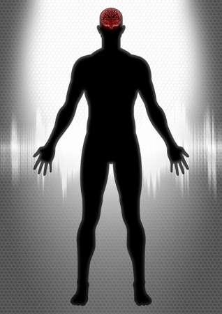 Silhouette illustration of a man anatomy illustration
