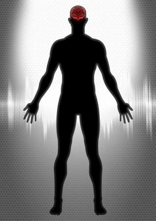 medical scanner: Silhouette illustration of a man anatomy