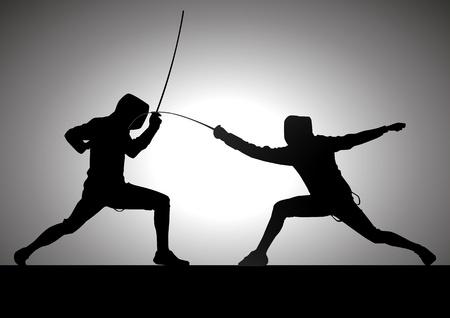 competitividad: Ilustraci�n de la silueta de dos tiradores Vectores