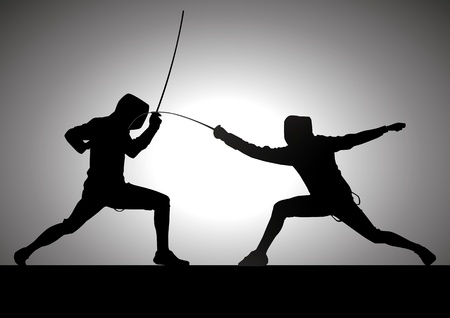 fencers: Silhouette illustration of two fencers Illustration