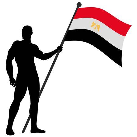 egypt flag: un portador de la bandera
