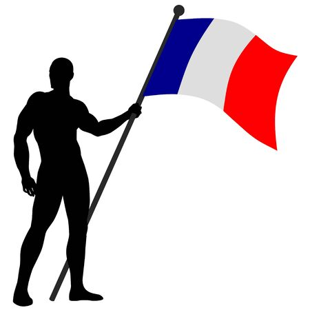 power pole: a flag bearer Illustration